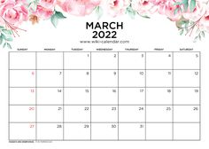 March 2022 Calendar Printable with Holidays