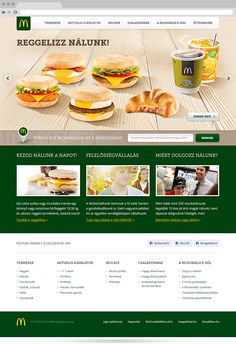 The hungarian McDonald's website's redesign by Mito / Clever things, via Behance Hungarian Flag, Web Design Inspiration, Food Design, Clever, Behance, Website, Yellow, Green, Beautiful