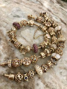 Pandora Bracelet Gold, Pandora Gold, Pandora Jewelry, Cute Jewelry, Charm Jewelry, Pandora Accessories, Bracelet Designs, Jewelery, Ring