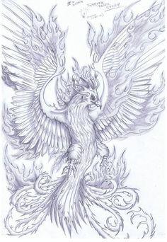 Phoenix Sketch by Tattoo Sketches, Tattoo Drawings, Body Art Tattoos, Sleeve Tattoos, Crow Tattoos, Ear Tattoos, Phoenix Bird Tattoos, Phoenix Tattoo Design, Aquarell Phönix Tattoo