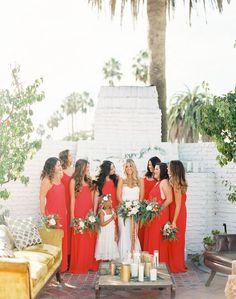 Gorgeous red bridesmaid dresses