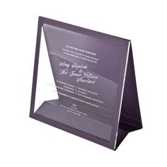 This classic option incorporates a stylish stand in a choice of 48 stock  colours to display your Cleartouch invitation in. Each one is beautifully  laser engraved with your personalised wording, in a choice of fonts, onto  the highest quality Perspex. This comes in a choice of clear, frosted,