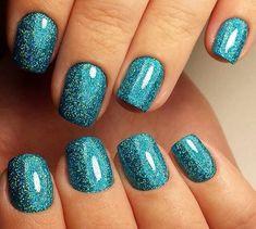 Azure nails, Beautiful new year's nail, Beautiful winter nails, Blue nail art, Chameleon nails, December nails, Festive nails, Glitter nails