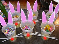 Easter Craft Add facial features and ears to clear plastic glasses  from Holiday Daycare Projects by Dianne Pray Morton