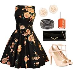 Black Floral Sleeveless Dress, Light Pink Rose Earrings, Silver Bangle Bracelets, Orange Essie Nail Polish, Black Clutch Purse, and Nude Peep Toe Heels
