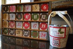 With this Advent Calendar Project (colors to match my décor)