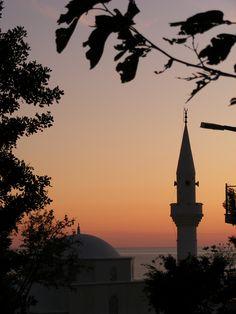 Silhouette of Kalkan mosque.(Kalkan,Antaslya,Turkey)