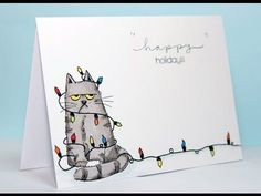 Cards by Maaike: Virginia´s View Challenge all things c.- Cards by Maaike: Virginia´s View Challenge all things colored Cards by Maaike: Virginia´s View Challenge all things colored - Christmas Cards Drawing, Watercolor Christmas Cards, Christmas Card Crafts, Homemade Christmas Cards, Christmas Cats, Handmade Christmas, Christmas Lights, Cute Christmas Cards, Tarjetas Diy