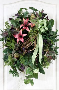 Garden Spring Wreath, Front Door Wreath, Summer Wreath, Lilies, Artichokes, Honeysuckle, Country Decor for your Front Door -- FREE SHIPPING. $176.00, via Etsy.