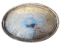Vintage Silver Metal Embossed Serving Tray by SouvenirsdeVoyages