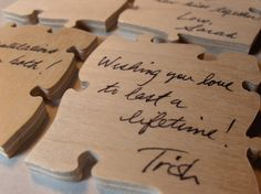 Wood Wedding Puzzle Guest Book - Puzzle Guest Book