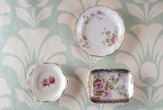Vintage Floral China Dishes - Set of 3 by TheAstorRoom on #Etsy