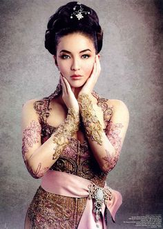 Beautiful modern indonesian kebaya with obi
