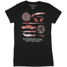 Supernatural Business Symbols Girls T-Shirt ($27) ❤ liked on Polyvore featuring tops and shirts