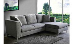 Sofá con chaise longue derecha tapizado en tela gris. Venta Flash