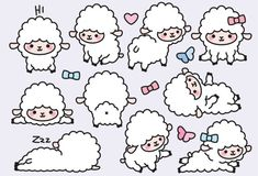 Premium Vector Clipart Kawaii Lambs Cute by LookLookPrettyPaper