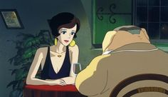 Porco Rosso hangs out with Gina in her Resturant. Hayao Miyazaki, Ghibli Tattoo, Japanese Animated Movies, Japanese Film, Totoro, Pom Poko, Grave Of The Fireflies, Studio Ghibli Art, Adventure Film