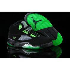 5fd47c40376177 Nike Air Jordan 5 Retro Black Green Men s Nike Air Jordan 5
