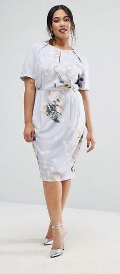 Plus Size Midi Pencil Dress In Peonie Floral Print