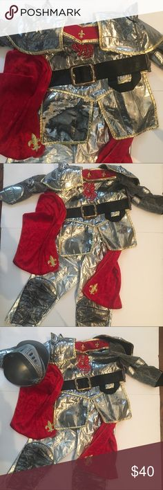 knight in shining Armour costume size 3/4 My little knight in shining Armour Halloween costume. Size 3/4. So adorable!!! Silver & gold lame' and red textured velour with Embroidered fleur di Lis and embroidered dragon 🐉 on front!! Glittery fabric sleeves. It's difficult to photograph just how cute this really is! Comes complete with helmet with face guard. Just add a plastic sword and some little black boots. Costumes Halloween