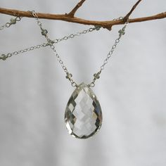 Green Amethyst Necklace with Sapphires in white 14K solid Gold - HUGE Take my breath away on Etsy, $499.00