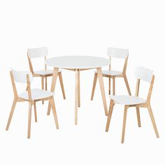 Ensemble table et chaises Rob I (5 éléments) - Blanc / Bouleau naturel