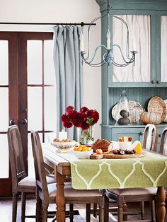 dining rooms, wood flooring, china cabinets, fall table, cozy homes, color, fall decorating, hous, shades of green