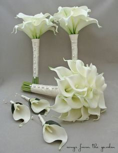 Real Touch Calla Lily Bridal & Bridesmaids Bouquets White Calla Lilies - Choose Your Wedding Colors