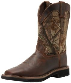 Justin Original Work Boots Men's Stampede Camo Waterproof Work Boot Realtree camoflauge J-Flex construction Removable insole Polyurethane outsole Men's Shoes, Shoe Boots, Boots Women, Onitsuka Tiger Mens, Timberland Style, Timberland Fashion, Sperrys Women, To Boot New York, Camo Designs
