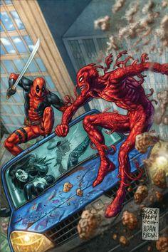 #Deadpool #Fan #Art. (DEADPOOL VS. CARNAGE #3 (of 4) By: Salvador Espin & Glenn Fabry. ÅWESOMENESS!!!™ ÅÅÅ+    https://s-media-cache-ak0.pinimg.com/474x/84/cf/a1/84cfa15e52d3a99b5fe7210399387faf.jpg