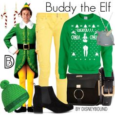 Buddy the Elf by leslieakay on Polyvore featuring Balmain, River Island, Mammut, H&M, INDIE HAIR, disney, disneybound and disneycharacter
