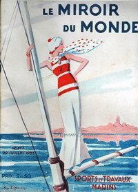 Original French Vintage Poster Ad - Travel - 1933 - Cover, Art Illustration, Miroir du Monde