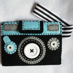 felt camera inspiration, embroidery