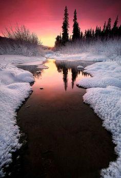 Winter sunset in Alaska - landscape, winter, sunset, alaska. Beautiful Sunset, Beautiful World, Beautiful Places, Wonderful Places, Beautiful Scenery, Cool Pictures, Cool Photos, Beautiful Pictures, Amazing Photos