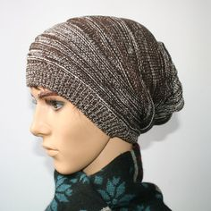 Marled Wool Knit Skull Beanie Cap Slouchy Hats Coffee