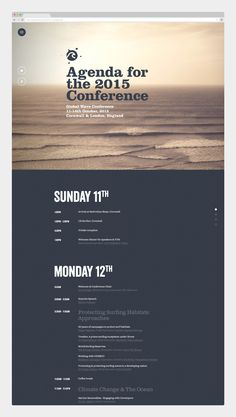 Global Wave Conference 2015 Nice type combinations and color palette. Global Wave Conference 2015 on Behance Web Design, Graphic Design Layouts, Email Design, Graphic Design Inspiration, Layout Design, Conference Branding, Schedule Design, Event Planning Checklist, Event Poster Design