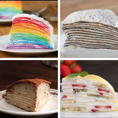 4 Astonishing Crepe Cakes- I've been meaning to make one of these for ages. - 4 Astonishing Crepe Cakes- I've been meaning to make one of these for ages. I might use the crepe - Yummy Treats, Delicious Desserts, Sweet Treats, Yummy Food, Baking Recipes, Cake Recipes, Dessert Recipes, Tasty Videos, Food Videos