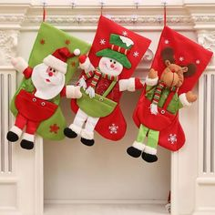 3D Santa Claus Snowman Deer Christmas Stockings Tree Ornaments Decorations Xmas Large Gift Holders Bags