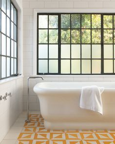 """Inspired ideas abound in these photos of real-life bathrooms that we love.Bright Nicaraguan-tile floors have become a staple for designer Barbara Bestor, whether she's working on a private residence or on a coffeehouse. """"The tiles have the same traditional craftsmanship as Moroccan ones but are more affordable and have customizable patterns,"""" says Bestor."""