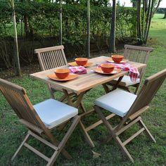 Salon De Jardin En Teck Ecograde Makassar Table Pliante Avec 4