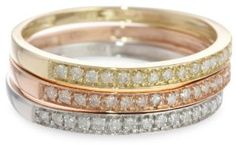 10k Tri-Colored Gold Diamond Stack Ring (1/4 cttw, J-K Color, I2-I3 Clarity), Set of 3, Size 7  http://electmejewellery.com/jewelry/rings/stacking/10k-tricolored-gold-diamond-stack-ring-14-cttw-jk-color-i2i3-clarity-set-of-3-size-7-com/