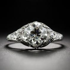 1.91 Carat Diamond Art Deco Engagement Ring - 10-1-6997 - Lang Antiques