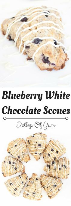 Delicious and flaky scones packed with blueberries and white chocolate chips. The best scones! Sweet Desserts, Sweet Recipes, Baking Muffins, Bread Baking, Chocolate Treats, Breakfast Dessert, White Chocolate Chips, I Love Food, Cookies Et Biscuits