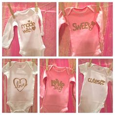WHITE with Gold Glitter Onesies baby showers by Partyinpinkevents