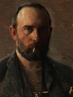 Peter Vilhelm Ilsted (Danish, 1866-1933), Self-portrait with a cigarette, 1898. Oil on canvas, 26 x 27cm.