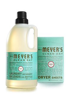 Mrs. Meyer's laundry detergent in Basil. seriously smells SO good!!! #MeyerLemonSaltScrub