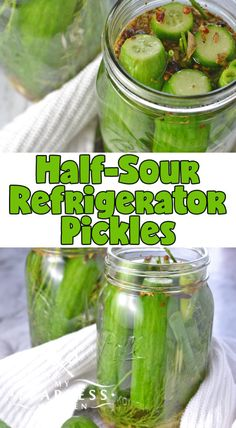 Half-Sour Refrigerator Pickles from My Fearless Kitchen. Somewhere between a fresh cucumber and a classic dill pickle, these Half-Sour Refrigerator Pickles are perfect with a burger, a sandwich, or for a quick snack! Half Sour Pickles, Butter Pickles, Cucumber Recipes, Detox Recipes, Dill Recipes, Recipies, Yummy Recipes, Yummy Food, Snacks