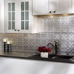 The backsplash panels are easy to install and can be cut with a scissors or tin snips to create the fit that you require.   6 in x 6 in Samples are available for purchase.