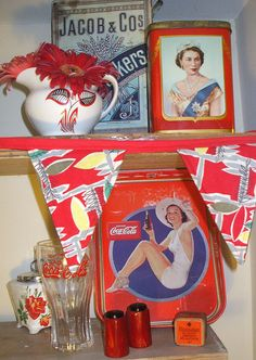 Red kitchenalia by the vintage cottage, via Flickr
