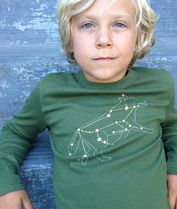 Wolf Lupus star constellation shirt with gold foil by Little Lark
